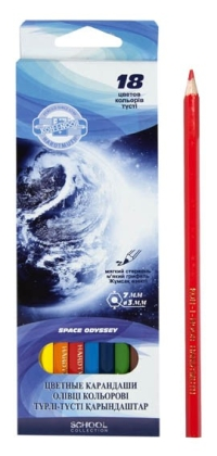 Карандаши 18 цв Космос карт.короб 3653